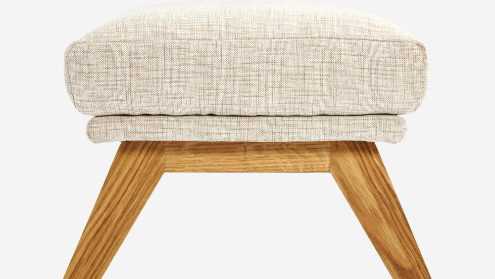 Footstool in Ancio fabric, nature with oak legs