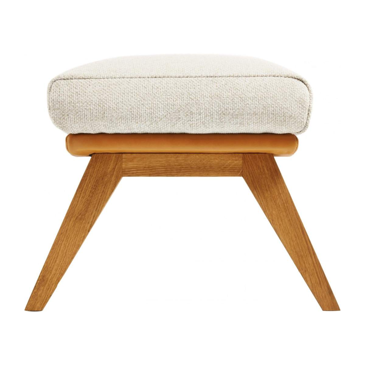 Footstool in Ancio fabric, nature et cuir marron with oak legs n°3