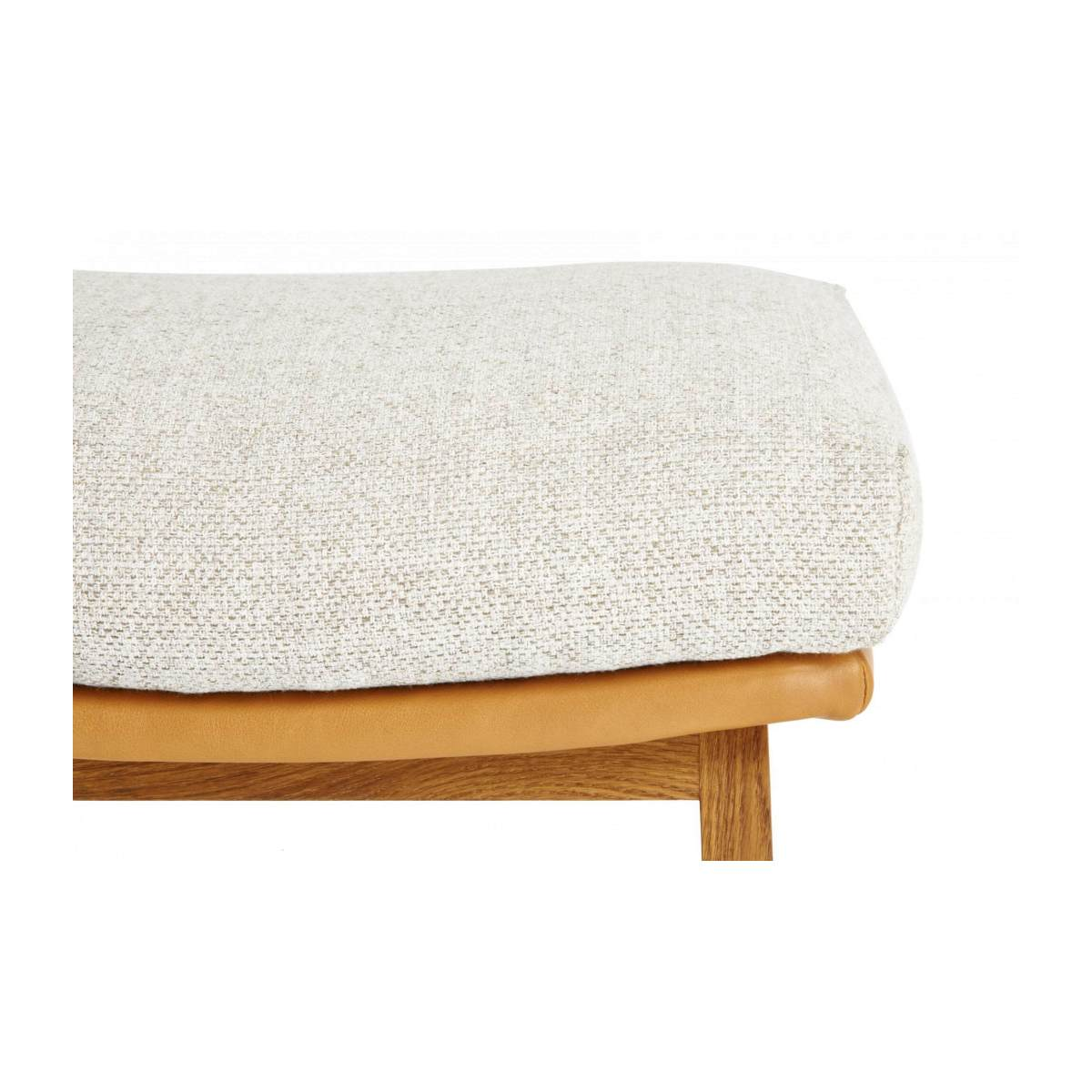 Footstool in Ancio fabric, nature et cuir marron with oak legs n°4