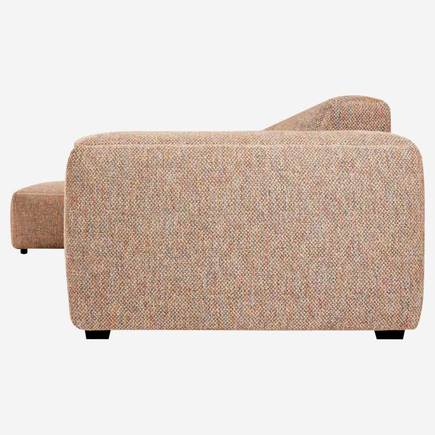 3 seater sofa with left chaise longue in Bellagio fabric, passion orange