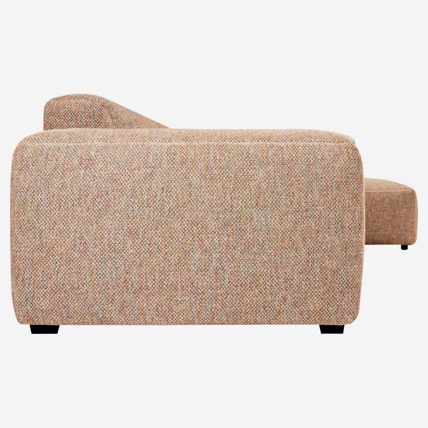3 seater sofa with right chaise longue in Bellagio fabric, passion orange