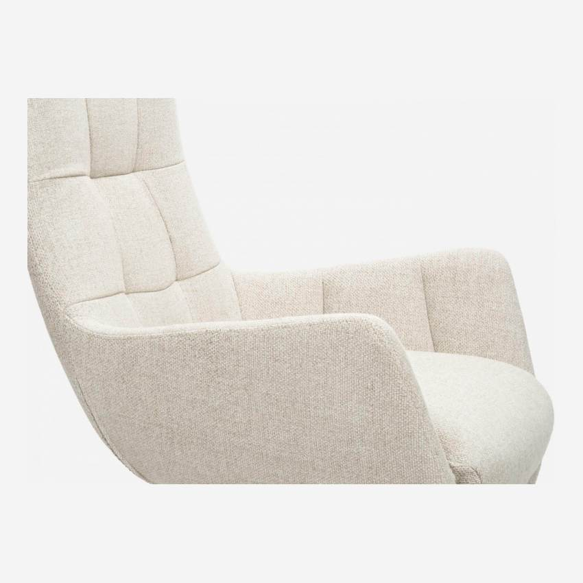 Armchair in Lecce fabric, nature with dark oak legs