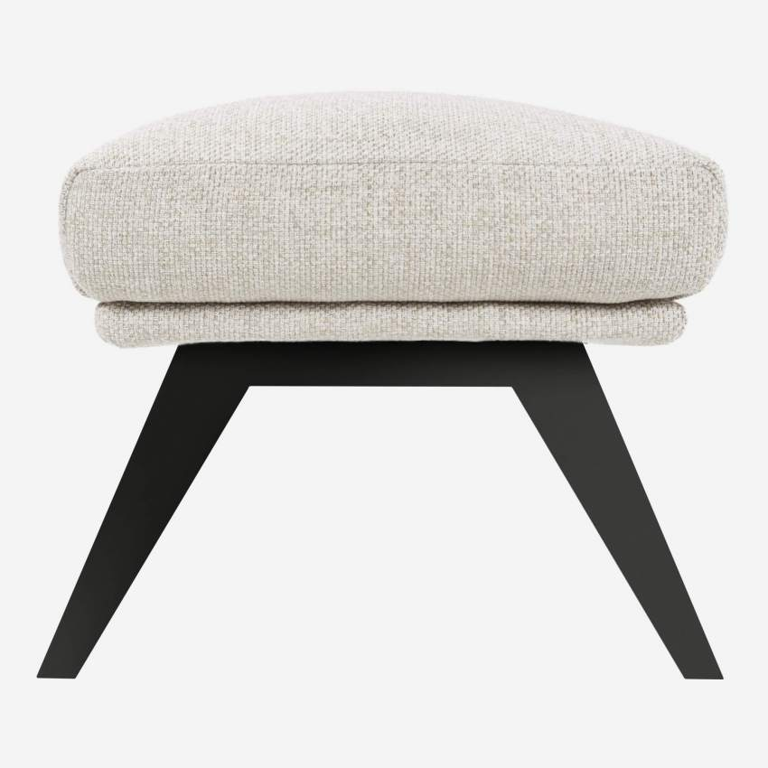 Footstool in Lecce fabric, nature with dark legs