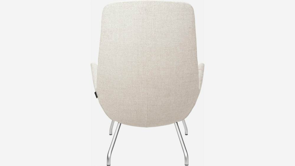 Armchair in Lecce fabric, nature with matt metal legs