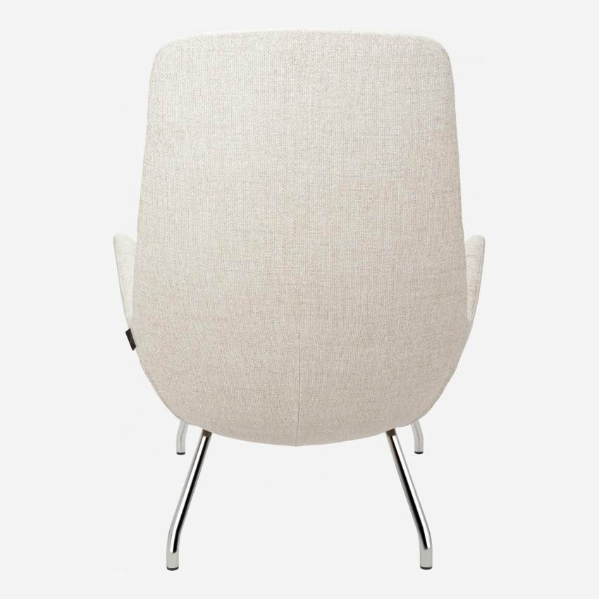 Armchair in Lecce fabric, nature with chromed metal legs
