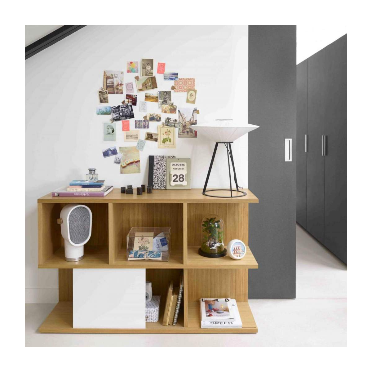 Low bookcase, oak and white n°11
