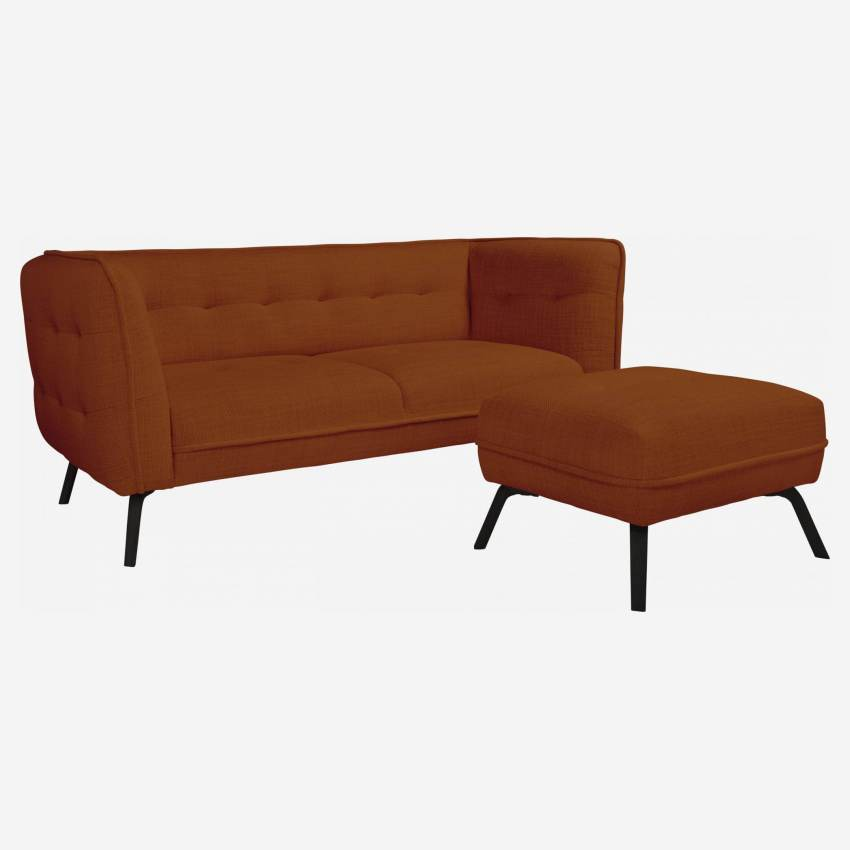 2 seater sofa in Fasoli fabric, warm red rock and dark legs