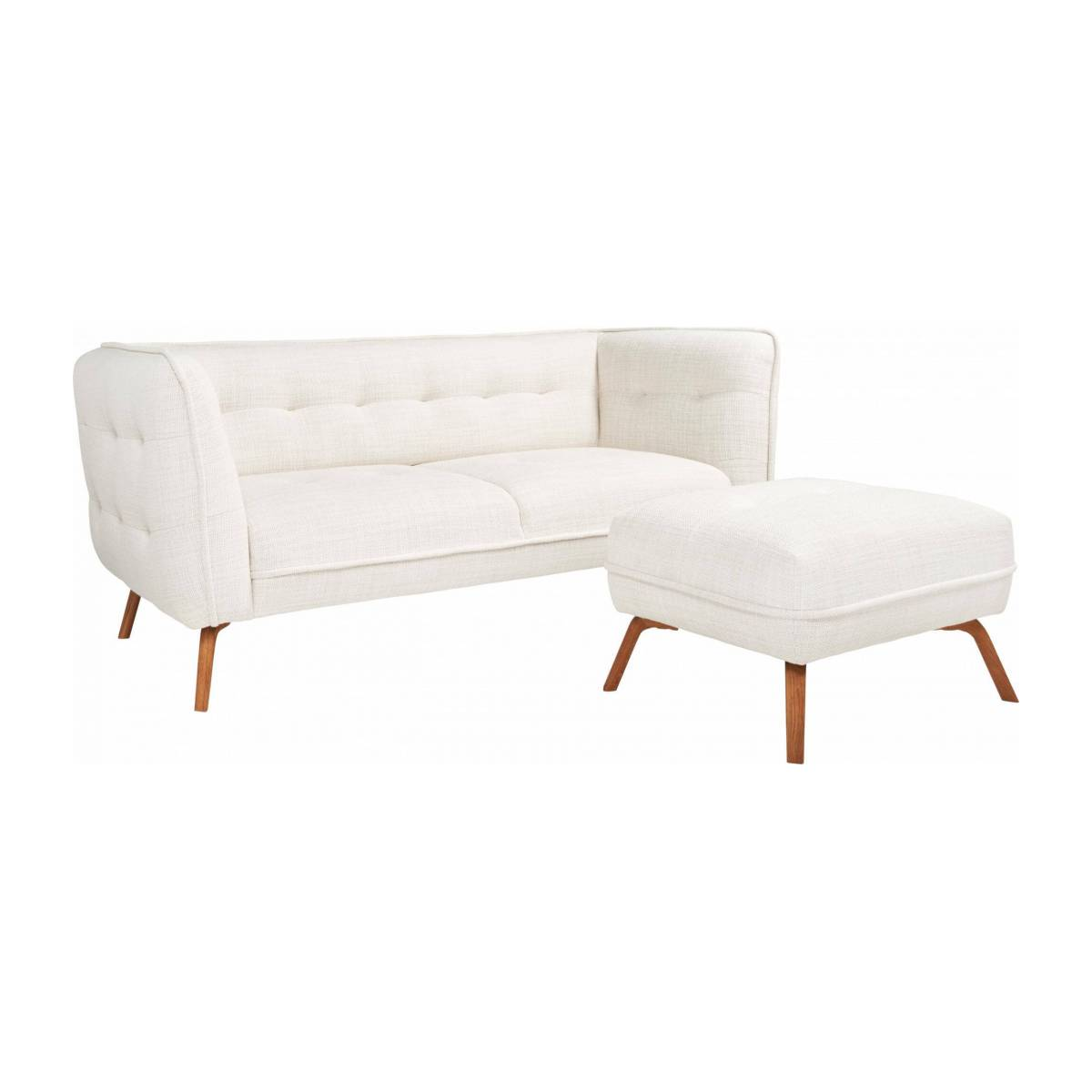 2 seater sofa in Fasoli fabric, snow white and oak legs n°9