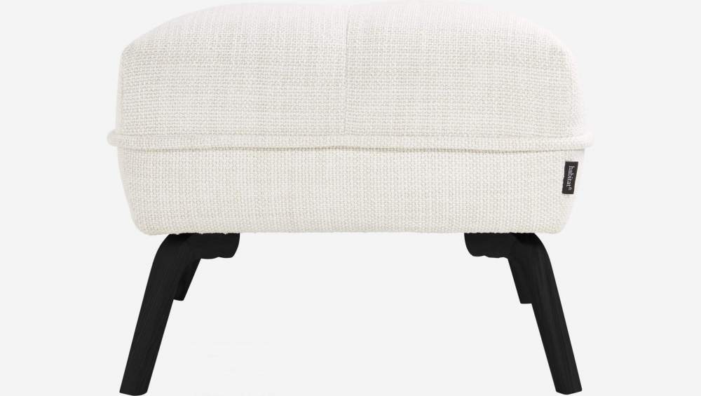 Footstool in Fasoli fabric, snow white and dark legs