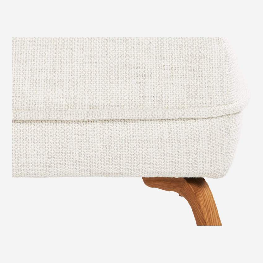 Footstool in Fasoli fabric, snow white and oak legs