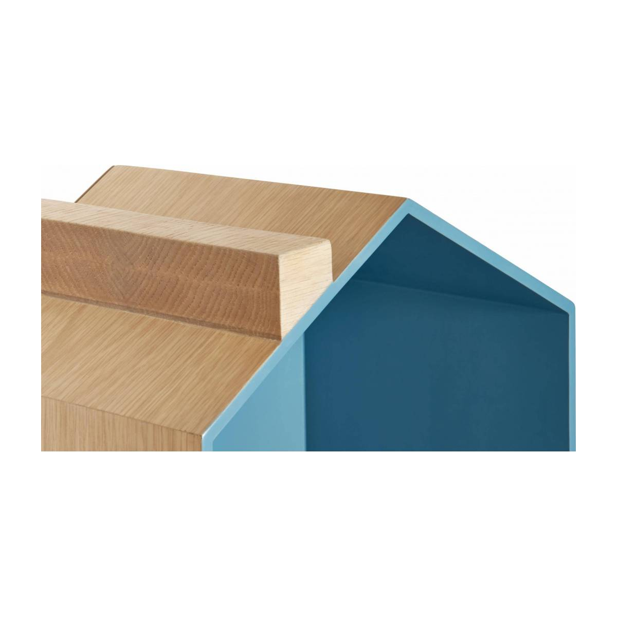 Set of 2 shelves made of oak, natural, grey-blue and yellow n°8