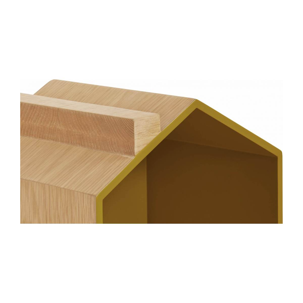 Set of 2 shelves made of oak, natural, grey-blue and yellow n°9