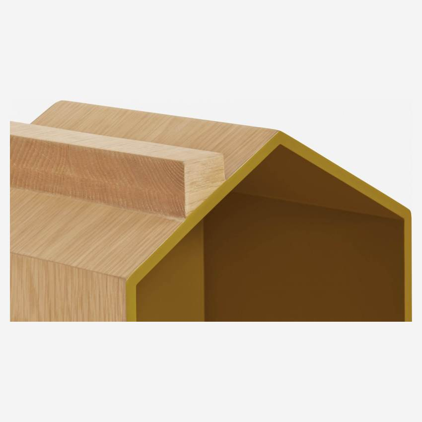 Set of 2 shelves made of oak, natural, grey-blue and yellow