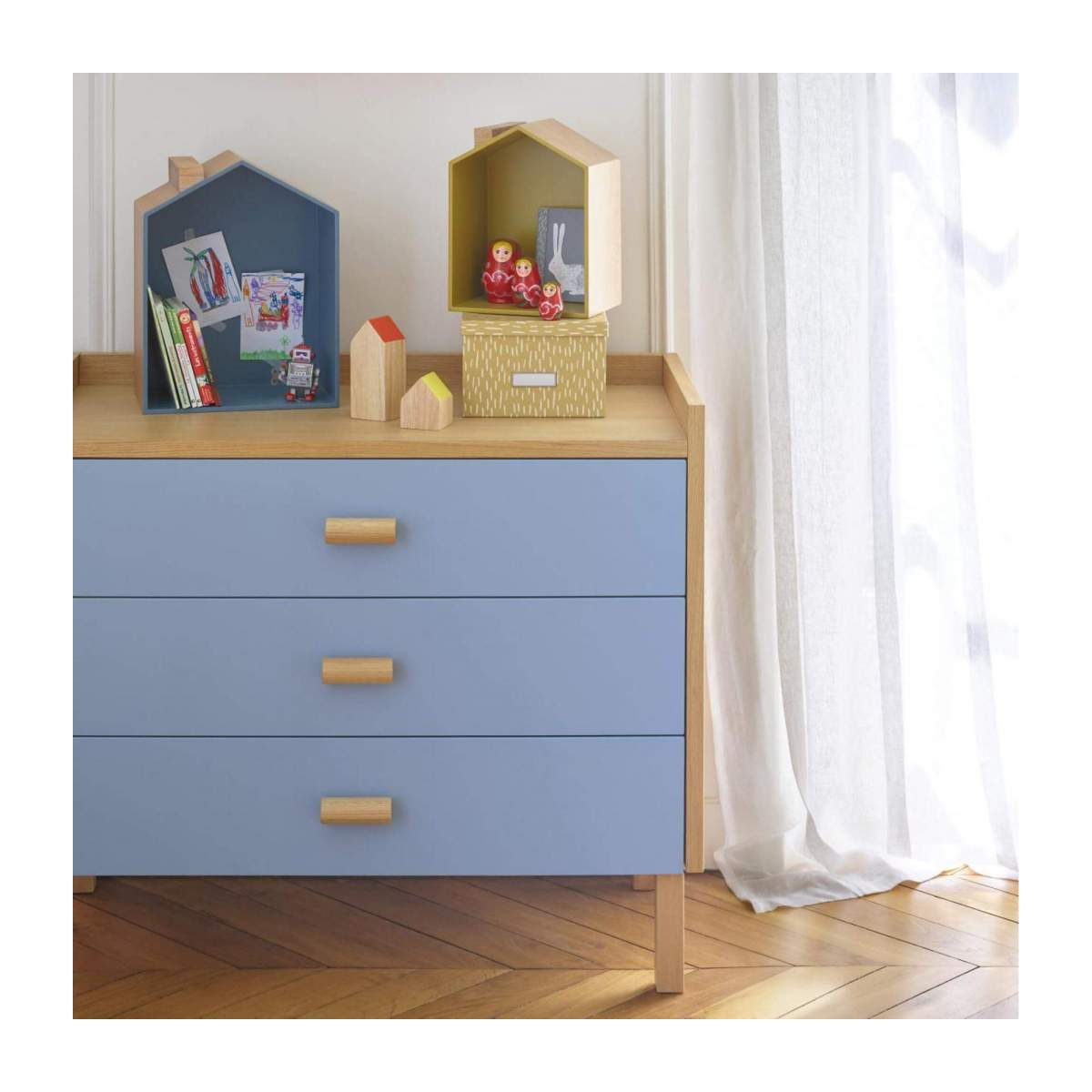 Set of 2 shelves made of oak, natural, grey-blue and yellow n°10