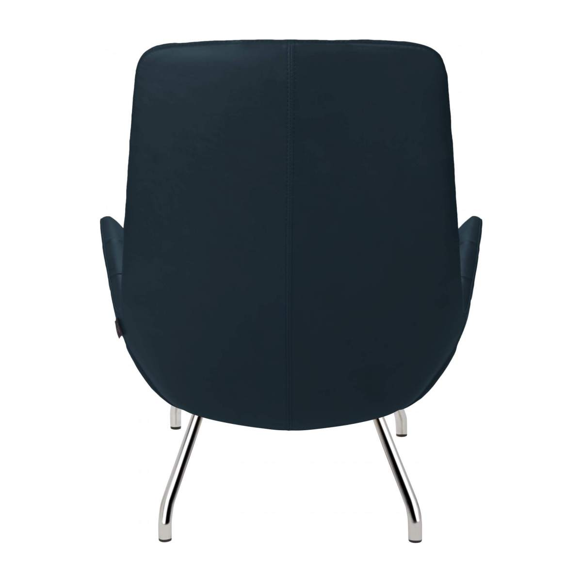 Armchair in Vintage aniline leather, denim blue with chromed metal legs n°3