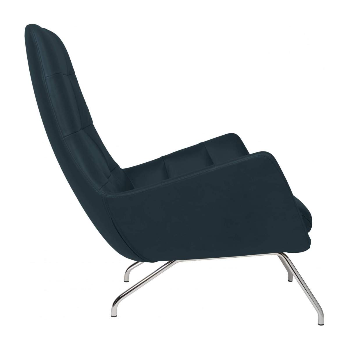 Armchair in Vintage aniline leather, denim blue with chromed metal legs n°4