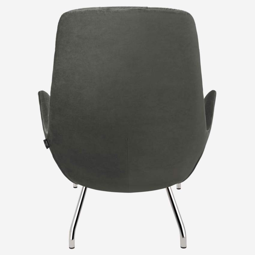 Armchair in Super Velvet fabric, silver grey with chromed metal legs