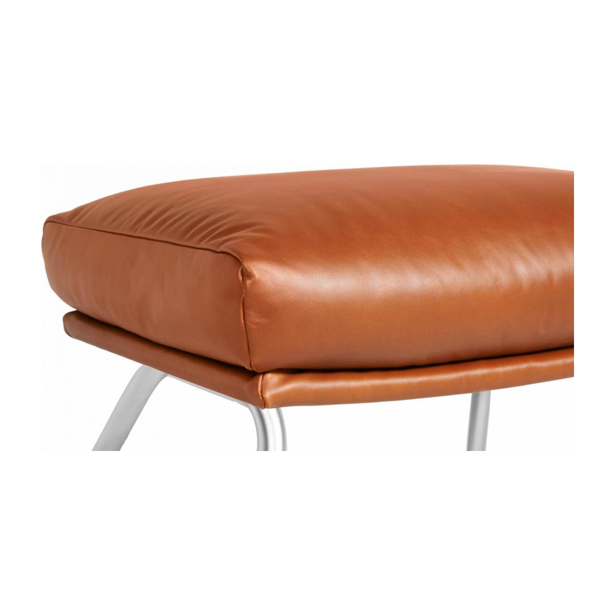 Footstool in aniline Vintage Leather, old chestnut with matt metal legs n°4