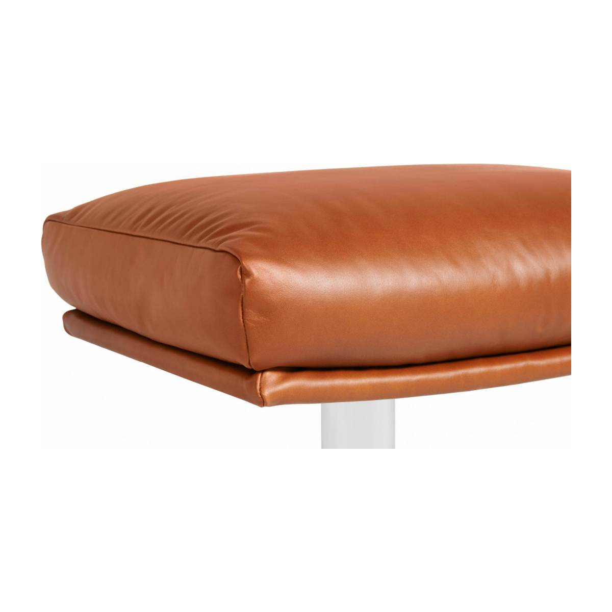 Footstool in aniline Vintage Leather, old chestnut with metal cross leg n°4