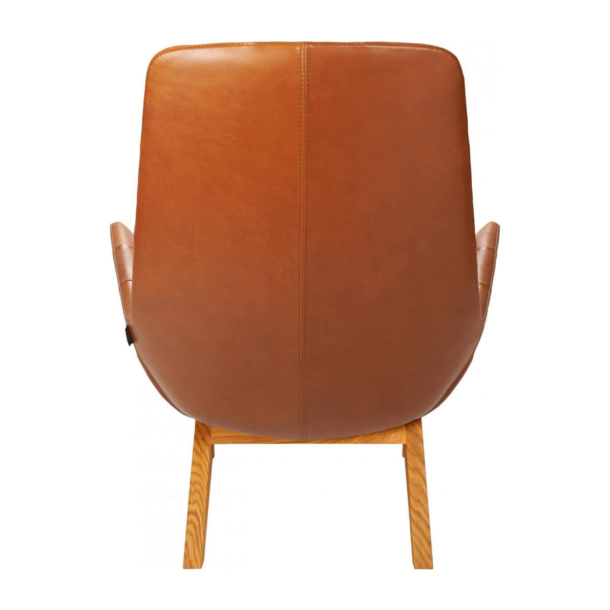 Armchair in Vintage aniline leather, old Chestnut with oak legs n°3