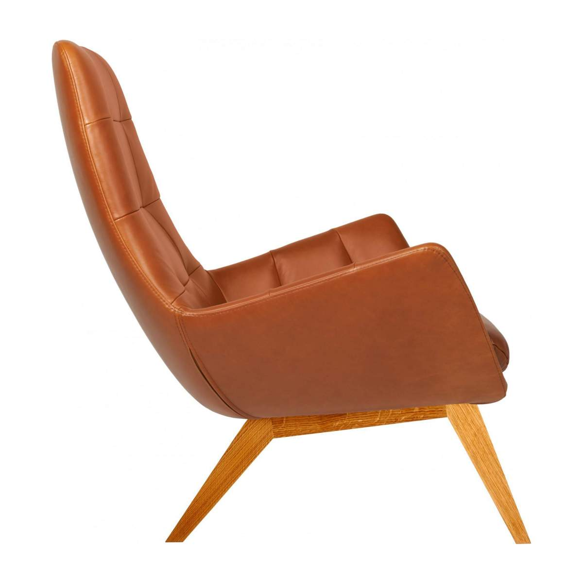 Armchair in Vintage aniline leather, old Chestnut with oak legs n°4