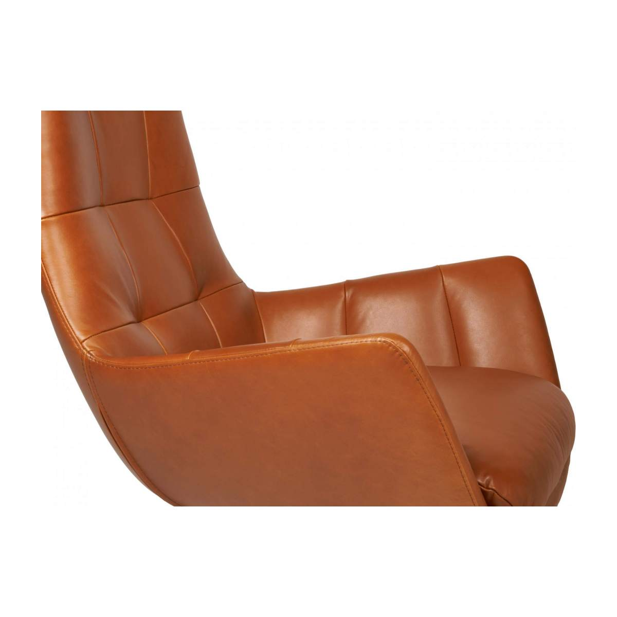 Armchair in Vintage aniline leather, old Chestnut with oak legs n°5