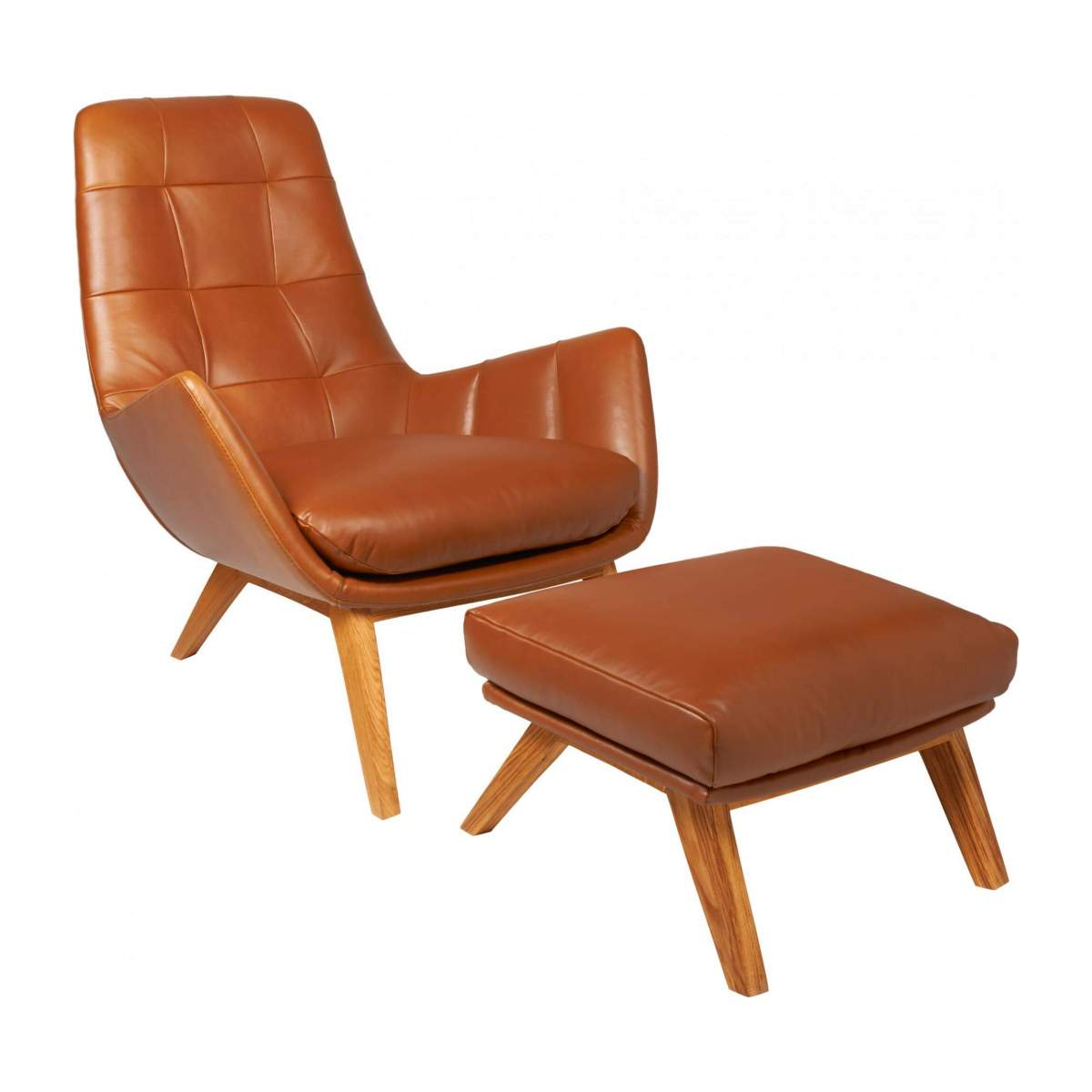 Armchair in Vintage aniline leather, old Chestnut with oak legs n°7
