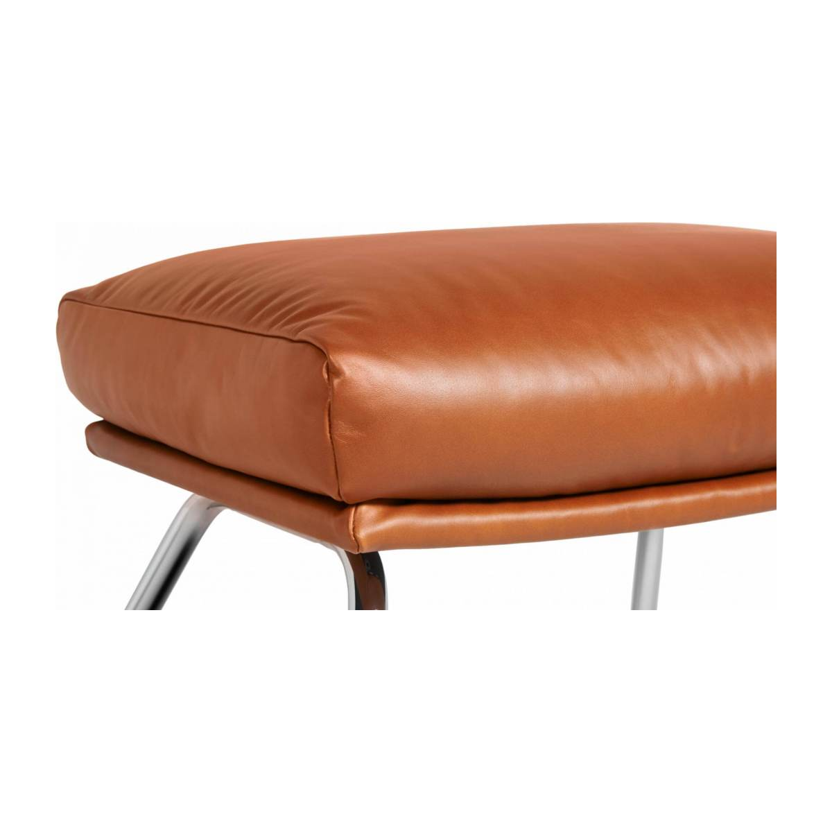 Footstool in aniline Vintage Leather, old chestnut with oak legs n°4