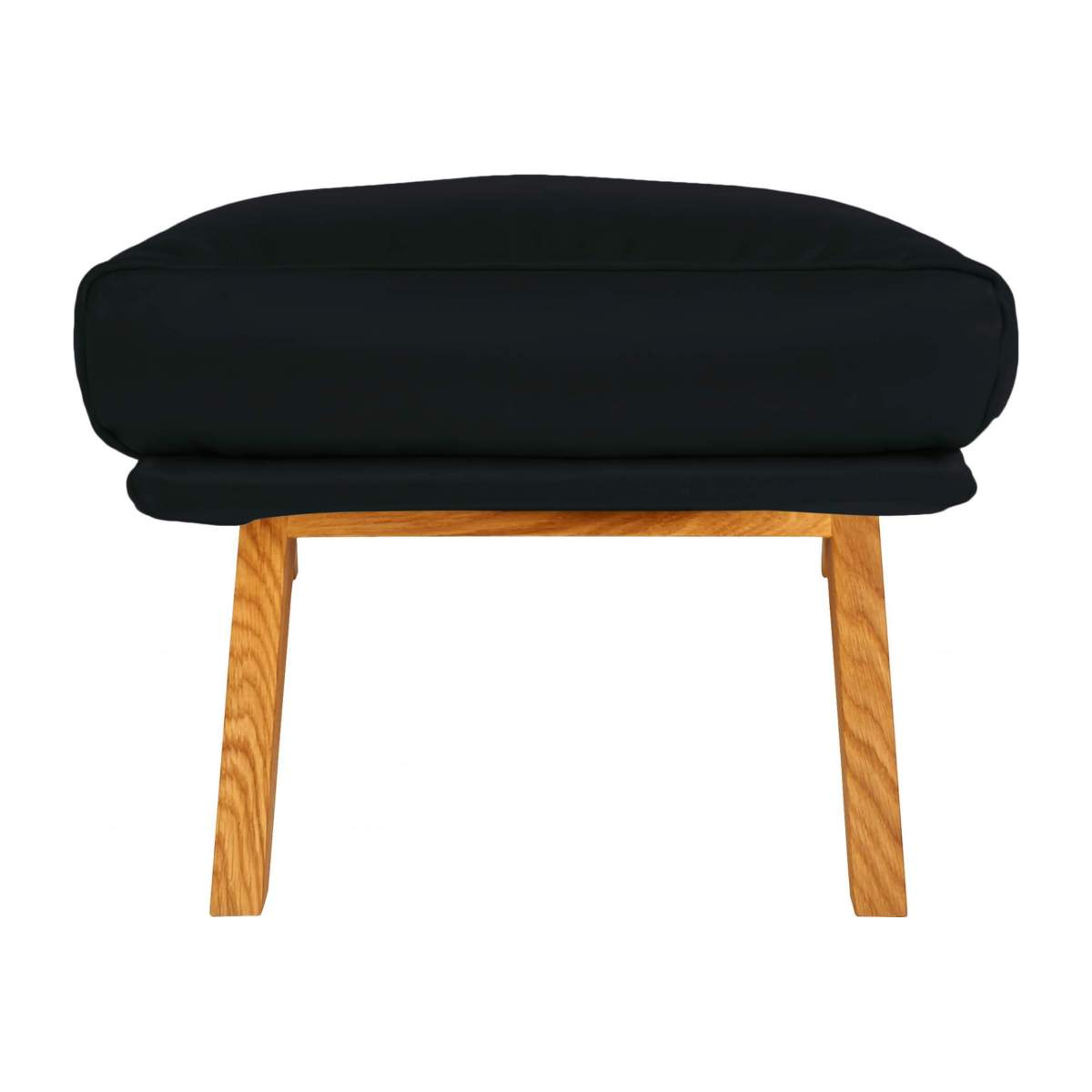 Footstool in aniline Vintage Leather, denim blue with oak legs n°3