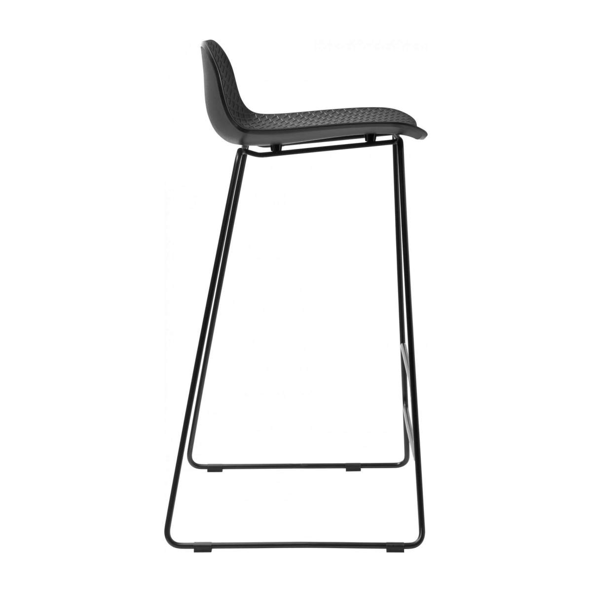 Black high stool in polypropylene and lacquered steel legs n°4