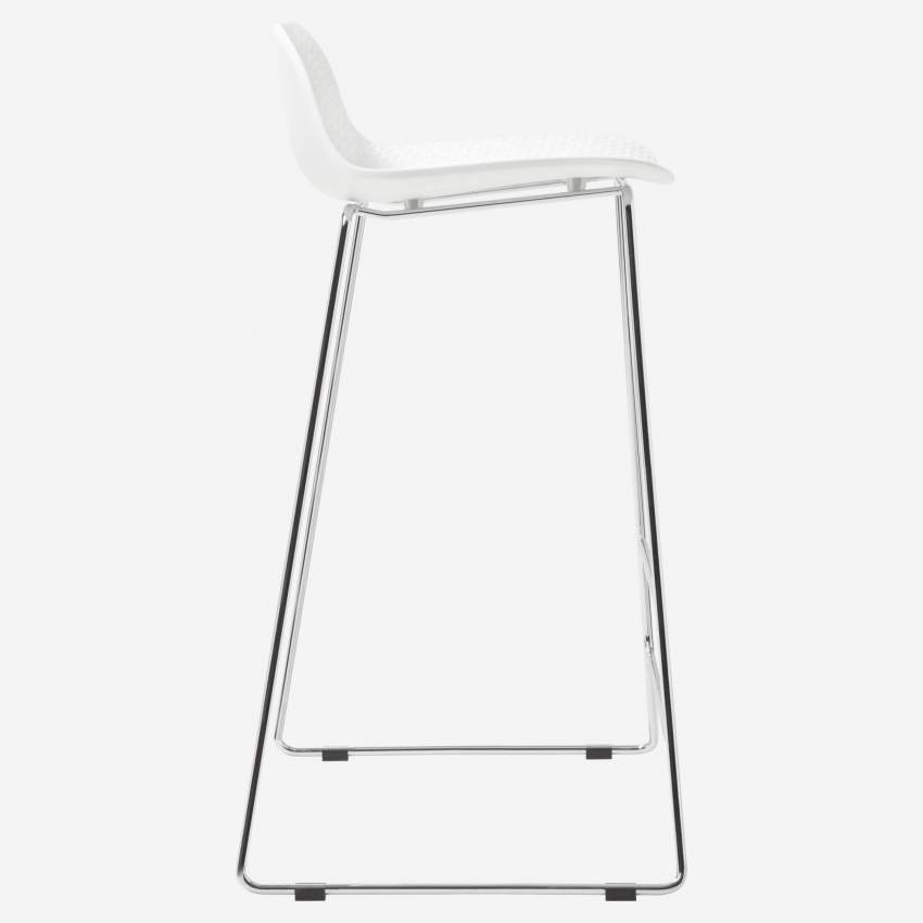 White high stool in polypropylene and lacquered steel legs