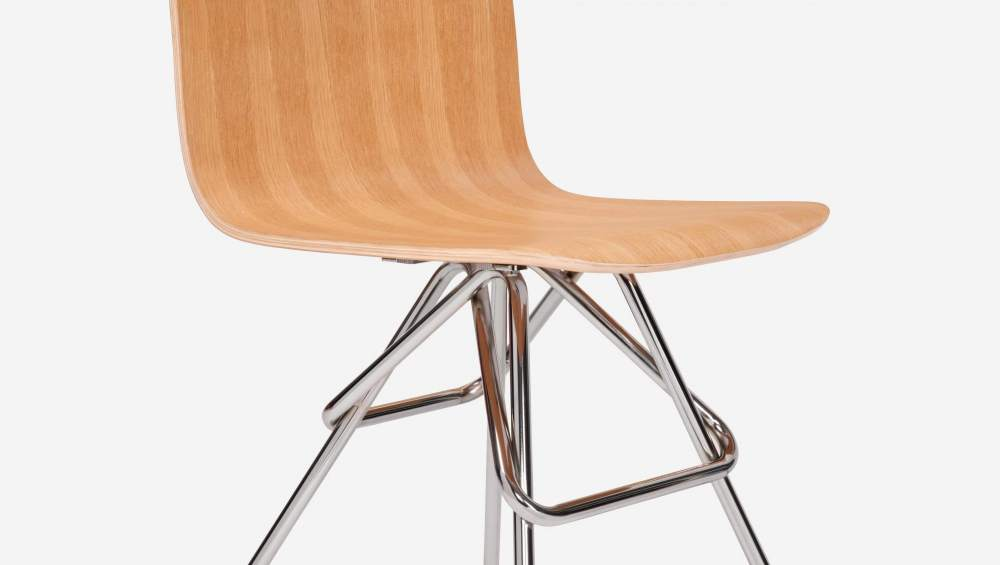 Natural oak chair with chrome steel legs
