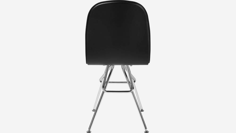 Chair with black faux leather cover and chrome steel legs