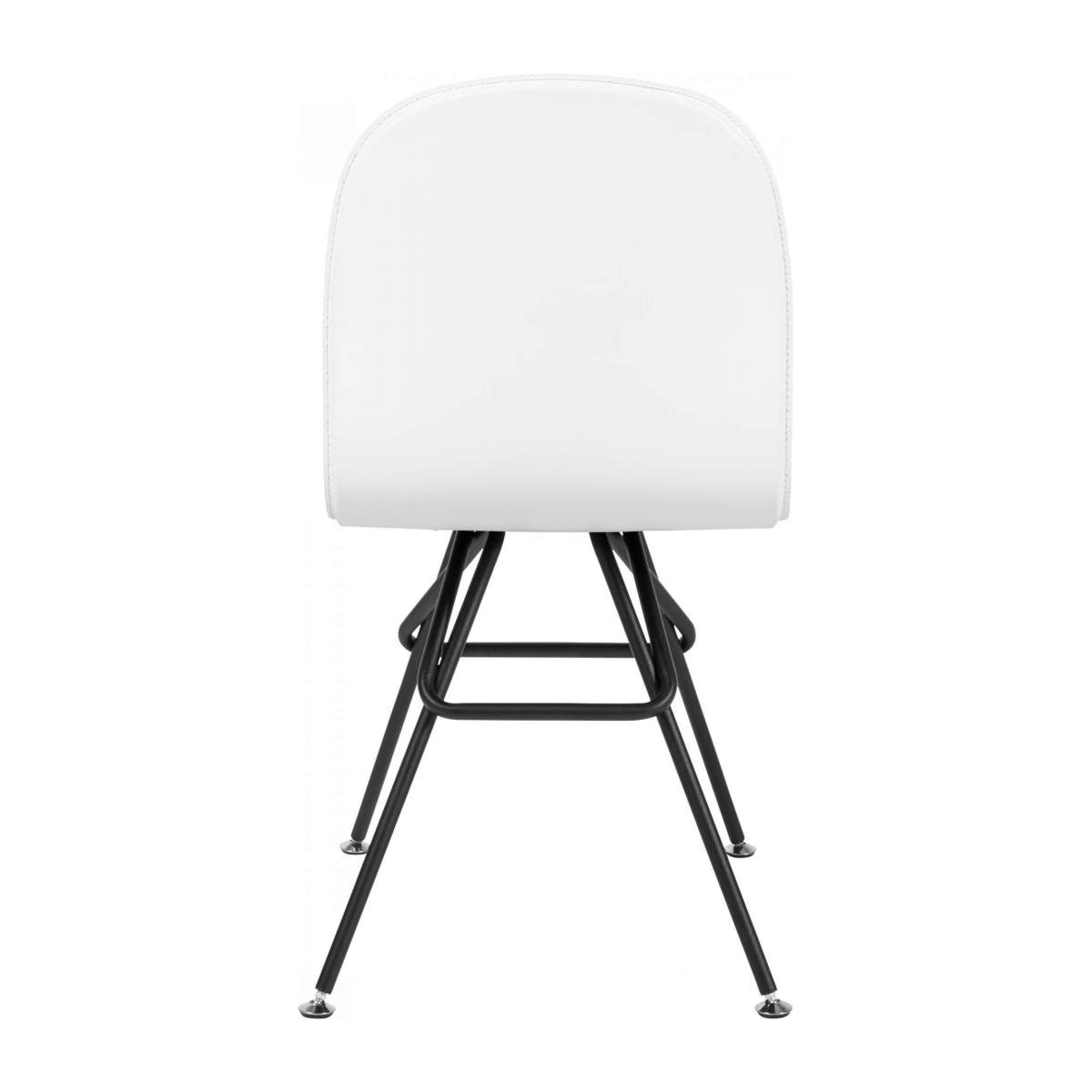 Chair with white faux leather cover and black steel legs n°3