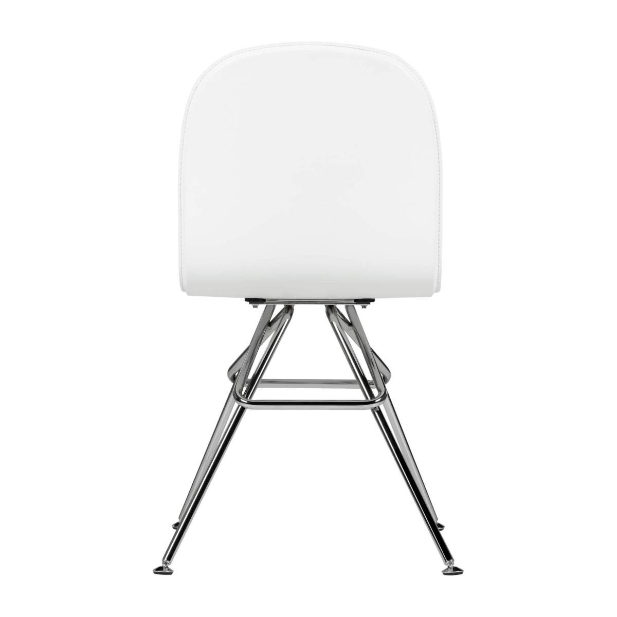 Chair with white faux leather cover and chrome steel legs n°3