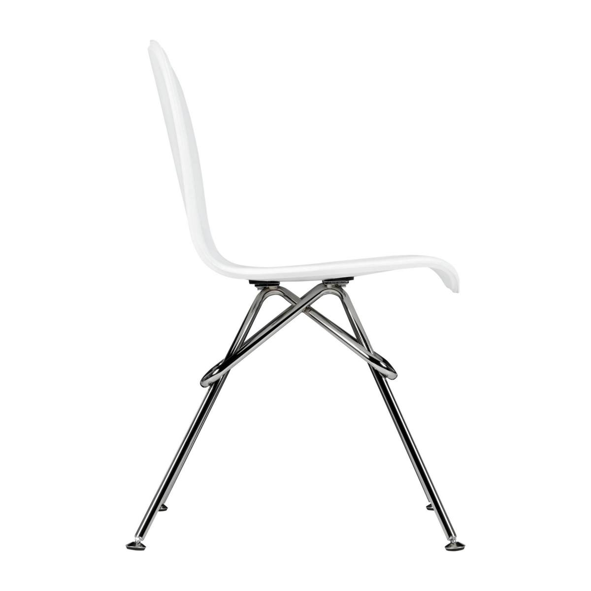 Chair with white faux leather cover and chrome steel legs n°4