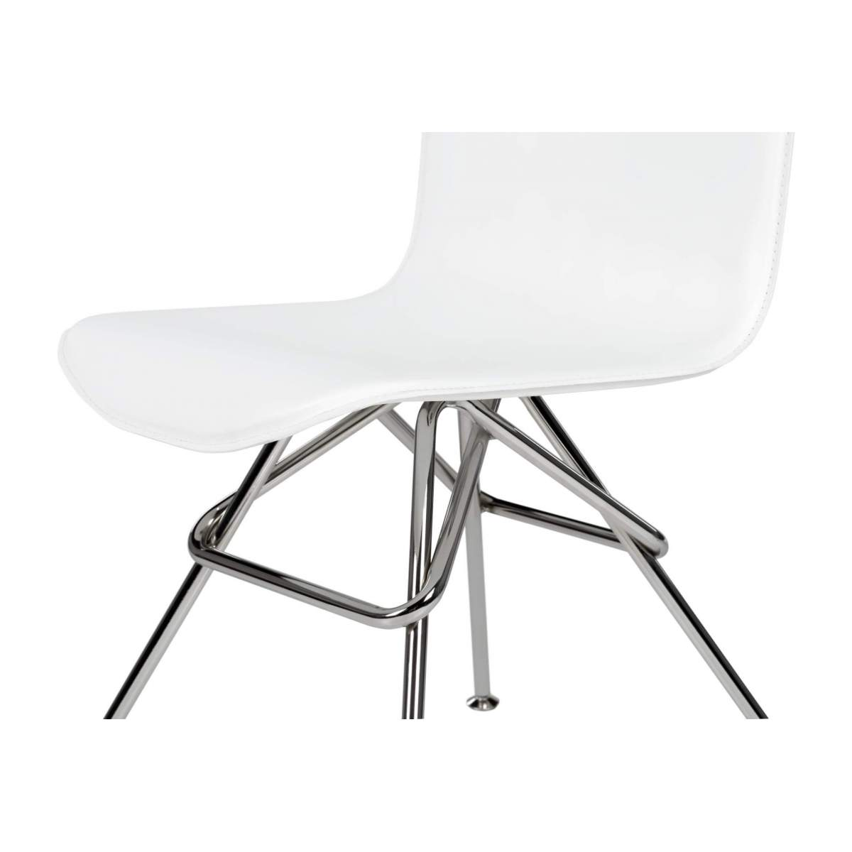 Chair with white faux leather cover and chrome steel legs n°5