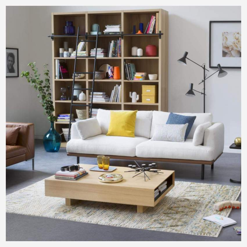 3 seater sofa in Lecce fabric, blue reef with base and armrests in brown leather