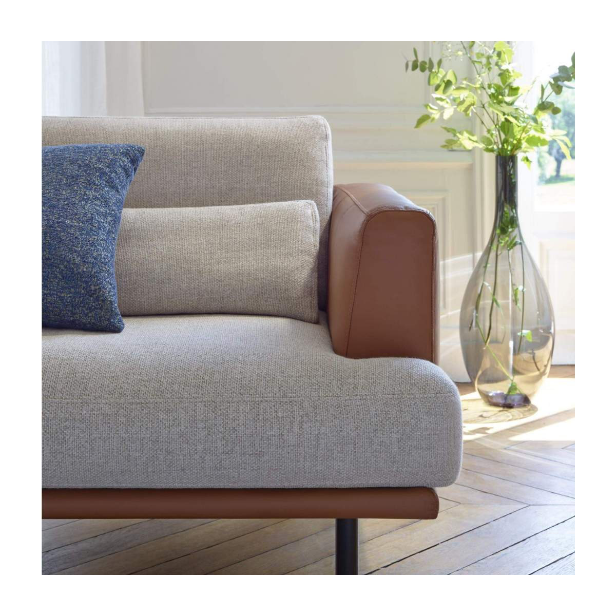 3 seater sofa in Fasoli fabric, grey sky with base and armrests in brown leather n°6