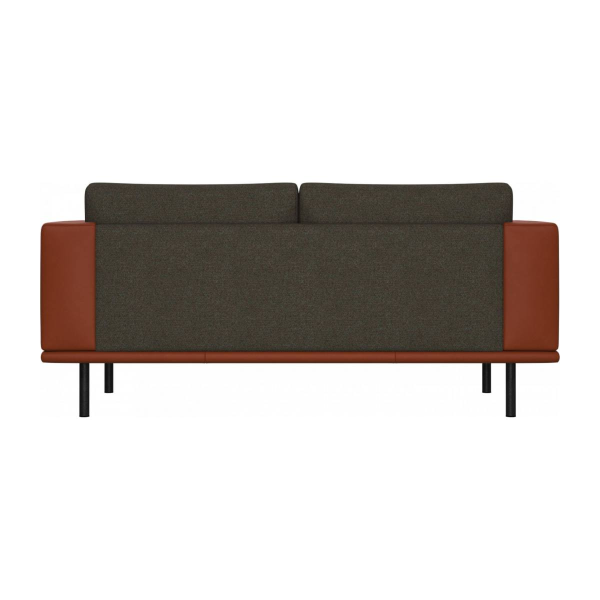 2 seater sofa in Lecce fabric, slade grey with base and armrests in brown leather n°4