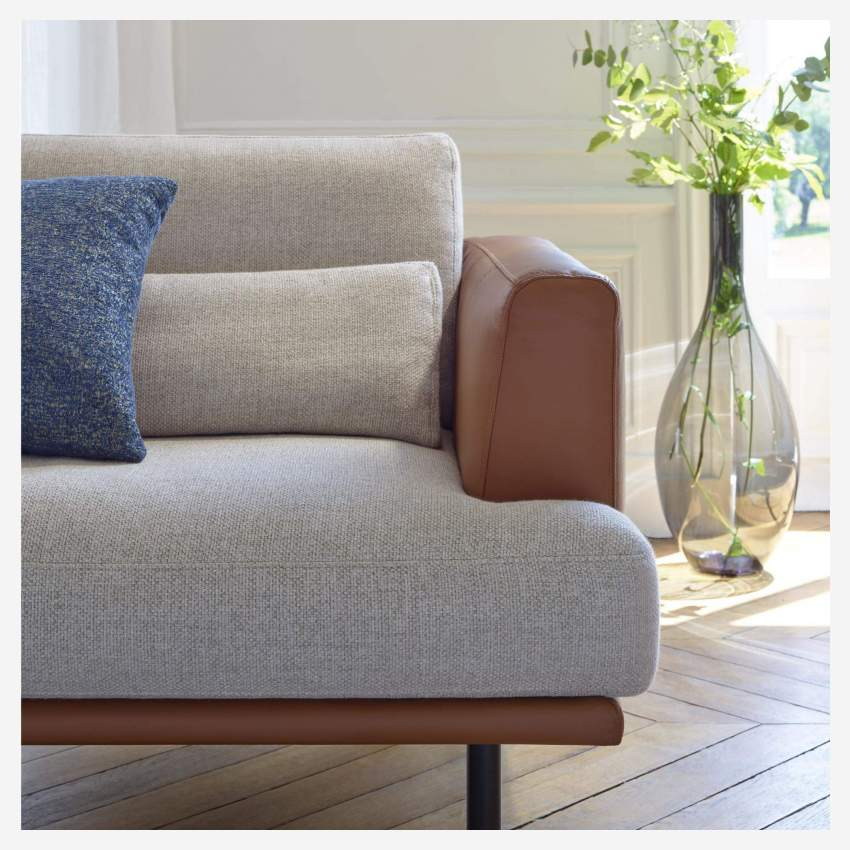 3 seater sofa in Super Velvet fabric, petrol blue with base in brown leather