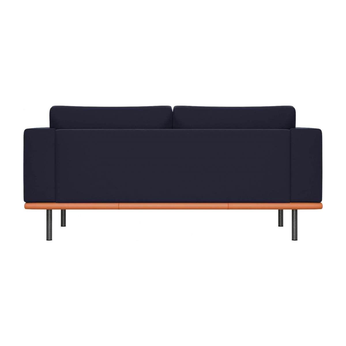 2 seater sofa in Super Velvet fabric, dark blue with base in brown leather n°4