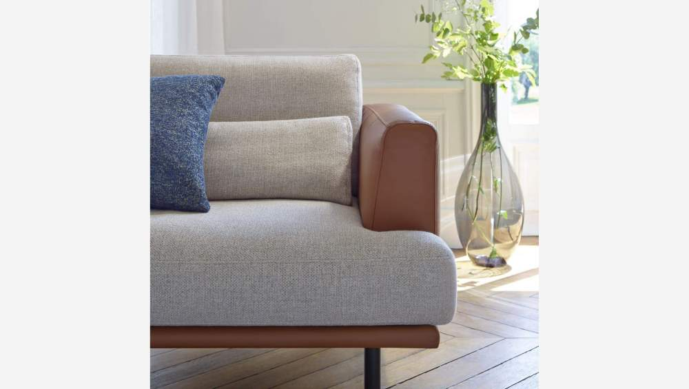 2 seater sofa in Lecce fabric, blue reef with base in brown leather