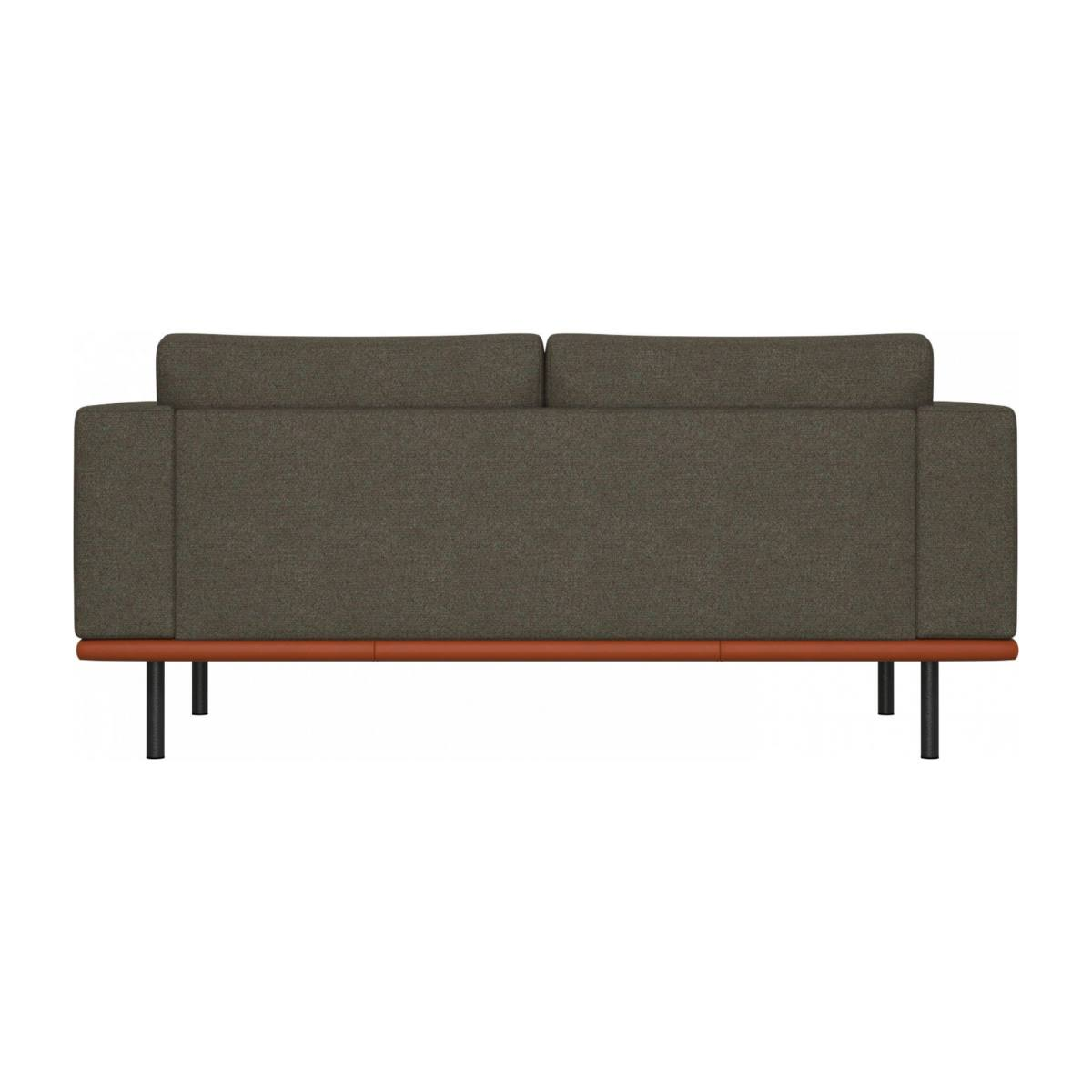 2 seater sofa in Lecce fabric, slade grey with base in brown leather n°4