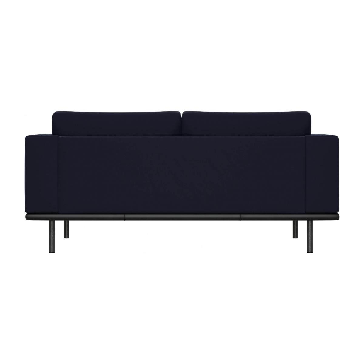 2 seater sofa in Super Velvet fabric, dark blue with base in black leather n°4