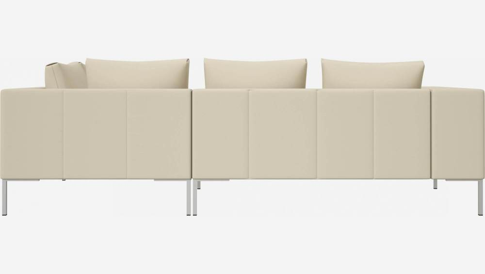 2 seater sofa with chaise longue on the right in Savoy semi-aniline leather, off white