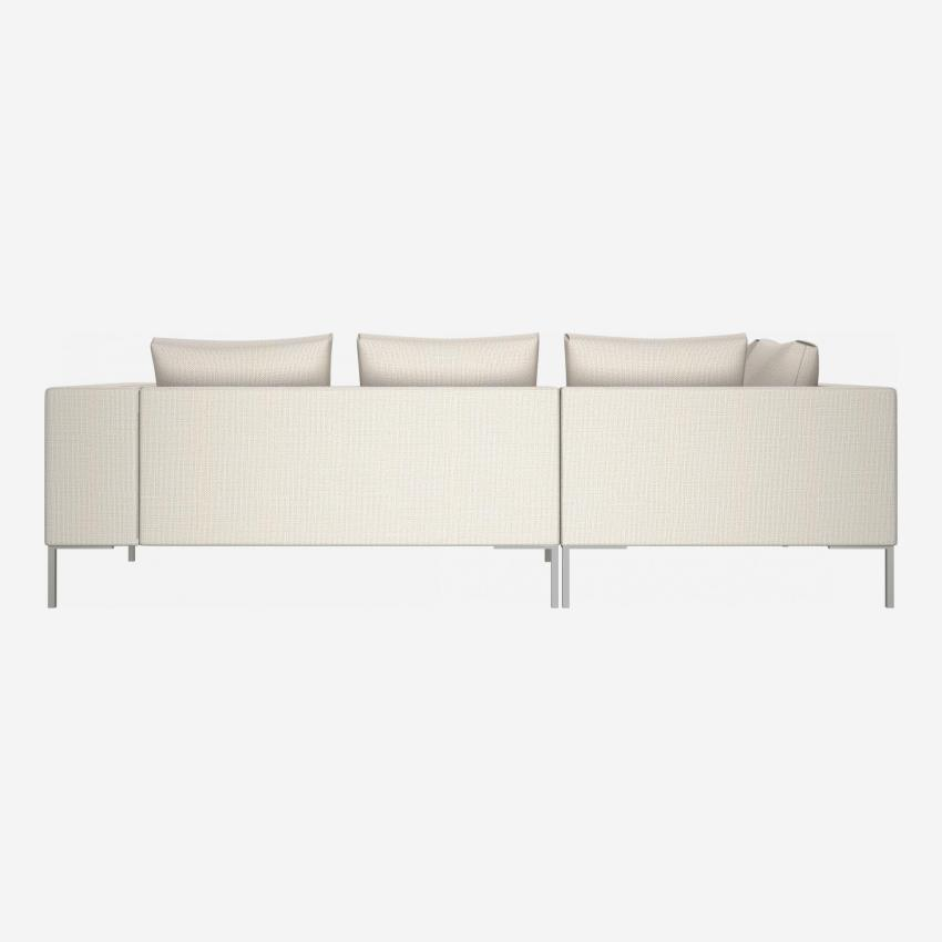 2 seater sofa with chaise longue on the left in Fasoli fabric, snow white