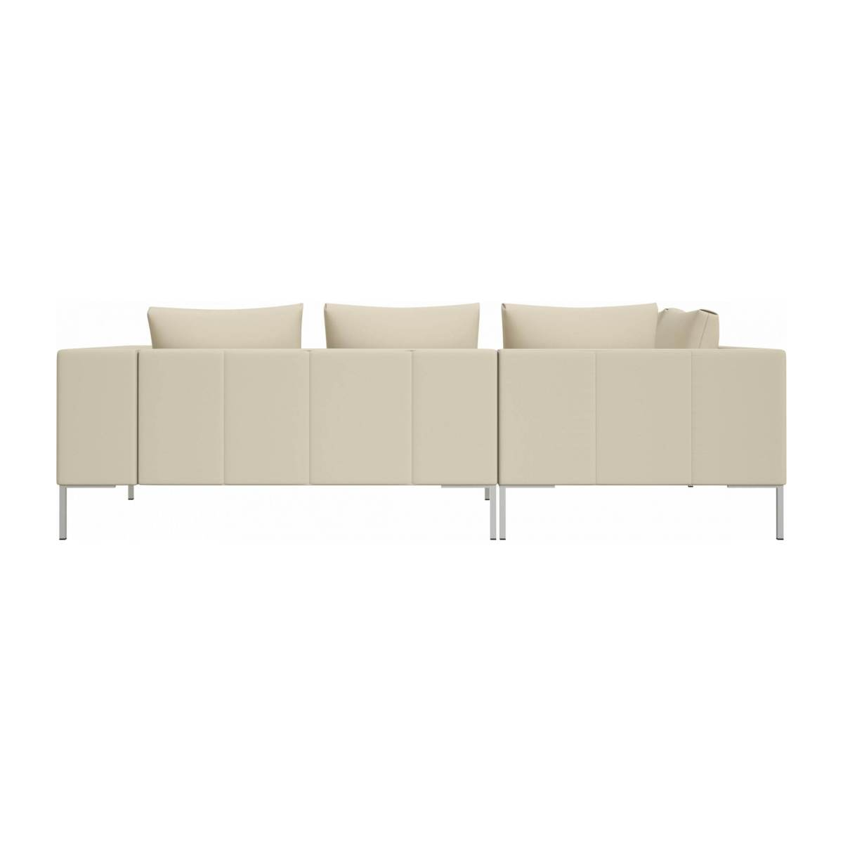 2 seater sofa with chaise longue on the left in Savoy semi-aniline leather, off white  n°3