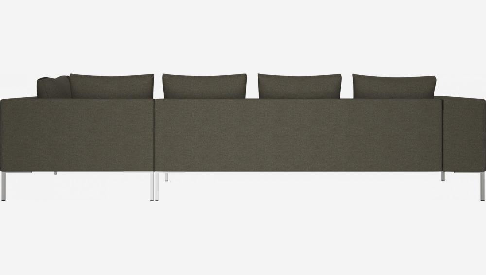 3 seater sofa with chaise longue on the right in Lecce fabric, slade grey