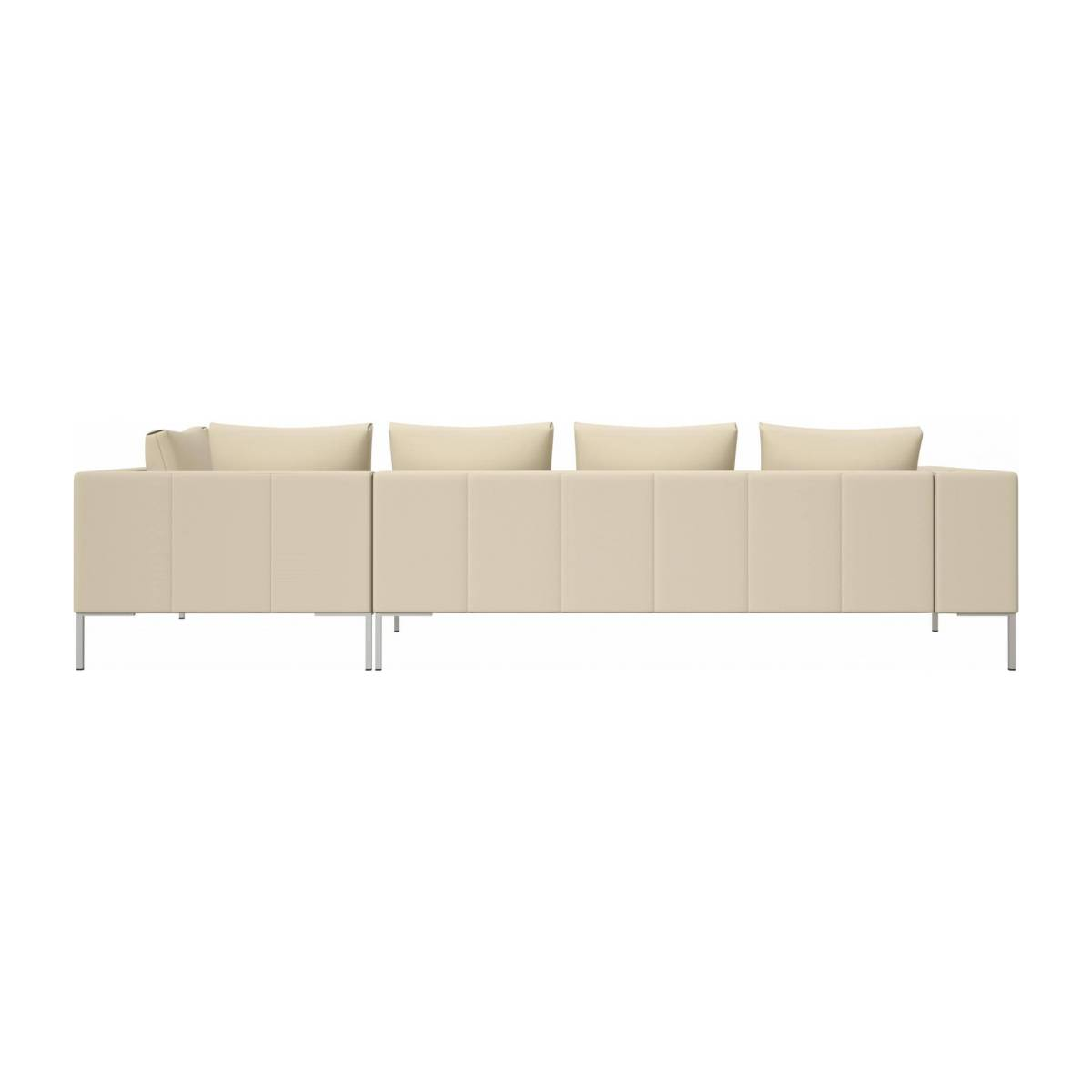3 seater sofa with chaise longue on the right in Savoy semi-aniline leather, off white  n°3